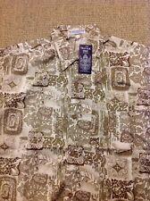Men's THAI SILK XL Beige Patterned Short Sleeve Shirt. New