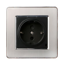 EU Plug 16A Standard Wall Socket Stainless Steel Brushed Silver Panel Electronic