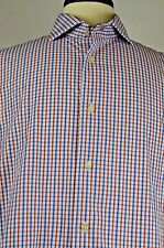 Isaac Mizrahi Men's Dress Shirt Size 17 Spread Collar Check Pattern Slim Fit