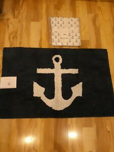 NWT Pottery Barn Anchor Shower Curtain + Anchor Bath Rug Navy & White 21x34...