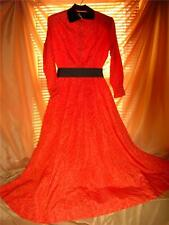 Halle Bros. Dress Gown VinTage XS 40's Red Orange Moire Tafetta