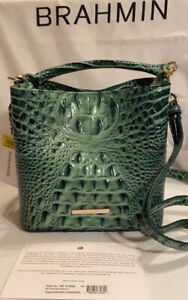 Brahmin Myrtle  Green Mini Amelia Leather Satchel Croc-Embossed NWT