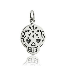 Sugar Skull Charm - 925 Sterling Silver - NEW Mexican Day of the Dead Pendant