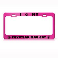 Egyptian Mau Cat Pink License Plate Frame Tag Holder