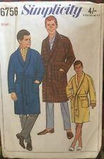 VTG 60s 70s Simplicity Mens Pattern Bath Robe Size Small