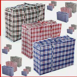 Reusable Jumbo plastic 3 pc Shopping Laundry Moving Storage Luggage Bag Zip⭐⭐⭐⭐⭐