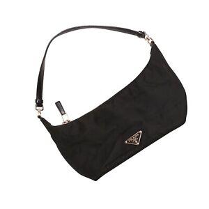 Prada Handbag Black Nylon Leather Small Shoulder Bag