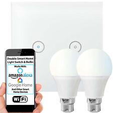 WiFi Light Switch & Bulb–2x 10W B22 Cool White Lamp & Double Wireless Wall Plate