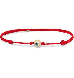 LUIS MORAIS Cord, Enamel And Gold Bracelet Red Evil Eye 14K