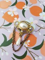 Vintage Pin Brooch Oval Faux Pearl Clear Rhinestone Gold Tone Attached Chain