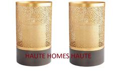 NEW LARGE GOLD GREEK KEY MODERN TRANSITIONAL IRON Candle Holder HURRICANE SET/2