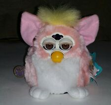 FURBY BABY 1999 PINK & WHITE WITH YELLOW TOP WORKING INTERACTIVE TOY