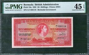 Bermuda (British Administration) P-19a 10 Shillings 1952 PMG 45 Rare