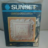 Vintage SUNSET Counted Cross Stitch Kit Ringbearer Pillow Wedding New