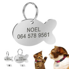 Cat Tags Engraved Personalised Disc Cute Fish Pet ID Name Collar Stainless Steel