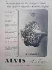 1/1946 PUB ALVIS AERO ENGINES LEONIDES AIRCOOLED RADIAL ENGINE ORIGINAL AD
