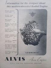 1/1946 PUB ALVIS AERO ENGINES LEONIDES AIRCOOLED RADIAL ENGINE ORIGINAL AD