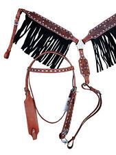 WESTERN HEADSTALL BREAST COLLAR BLACK SUEDE FRINGE LEATHER HORSE BRIDLE TACK SET