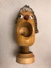 Vintage Wooden Hand Carved Taiwan Folk Art Corkscrew Nutcracker -6� H