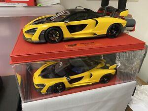 1/18 BBR Mclaren Senna Volcano Yellow on Red Deluxe Leather 02/02 n MR AUTOART