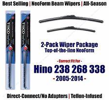 2pk Super-Premium NeoForm Wipers fit 2005-2014 Hino 238 268 338 16260/220