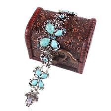 HK- Retro Jewelry Turquoise Bracelet Butterfly Crystal Inlay Tibetan Bangle Natu