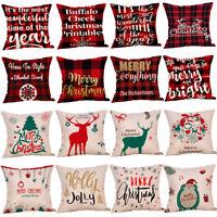 18'' Merry Christmas Pillow Case Sofa Xmas Plaid Throw Cover Cushion Decorative