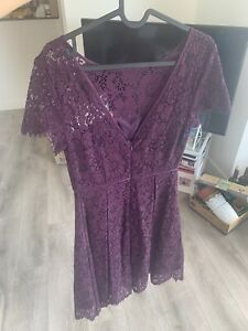 M&S Occasion Purple Maroon Lace Dress 8