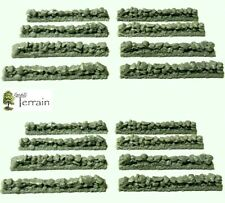 Wargames Terrain 15-20mm Stone Walls x 16 -  Flames of War Team Yankee UNPAINTED