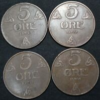 Mix Of Norway 5 Ore Coins  | Bulk Coins | KM Coins