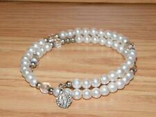 Costume Jewelry Bracelet Only *Read* Catholic Religious Faux Pearl Fashion /