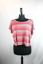 Paper Crane Short Striped Top Red Gray