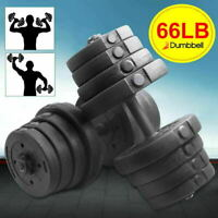 Adjustable 66 LBS Solid Dumbbell Weight Set Barbell Lifting w/4 Spinlock Collars