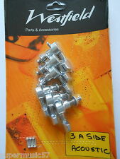SET WESTFIELD 3 A SIDE CHROME ACOUSTIC STEEL STRING GUITAR MACHINE HEADS TUNERS