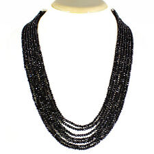 GENUINE ATTRCATIVE 342.05 CTS NATURAL 7 LINE BLACK SPINEL FACETED BEADS NECKLACE