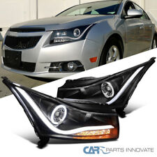 For 11-14 Chevy Cruze Black LED Halo Projector Headlights+Amber LED Signal Pair