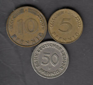 1949-1950 GERMANY 5 10 & 50(J) PFENNIG THREE(3) COIN IN NICE CONDITION