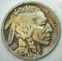 1924 D Buffalo Indian Head Nickel Five Cents US Coin 5c Fine Coin