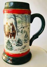 Budweiser Beer Mug Stein Ceramic Christmas Season's Best 1991 by Susan Sampson