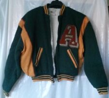 NOS Vintage Avirex Varsity Jacket - Green/Gold Solid Color - Size L 100% Acrylic