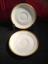 2x Minton Horizon White with Gold Trim Demitasse Saucer H5252. REPLACEMENTS