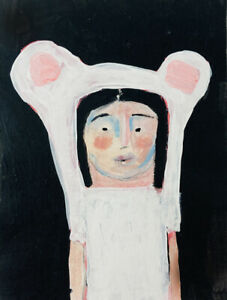 White Bear Girl Art Portrait Human Animal Painting Katie Jeanne Wood