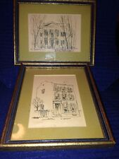 St Louis Pencil Drawings, 1 Signed Bradley, Set Of 2