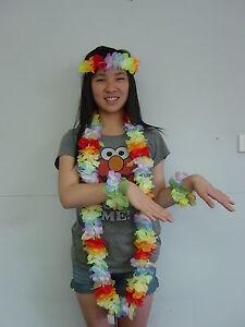 Flower Lei Headband and Bracelet Hawaiian Dress Up Set