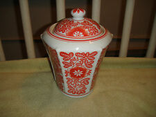 Superb Chinese Or Japanese Lidded Canister-Burnt Red Orange Floral Pattern-LQQK
