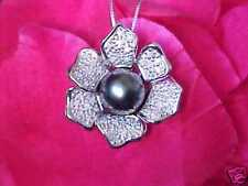 $2,349 ELEGANCE IN BLOOM! 14K FLOWER BLACK TAHITIAN PEARL 46 DIAMOND PENDANT