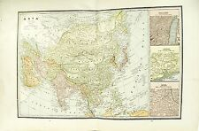 c 1890 Map of Asia by George F Cram ~ Map Full Color Lithograph Engraving