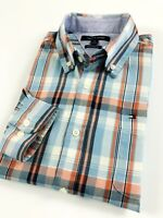 TOMMY HILFIGER Shirt Men's Poplin Blue/ Orange Multi Madras Checks Custom Fit