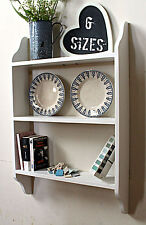 wooden wall  shelf shabby chic painted bookcase bathroom or kitchen shelving