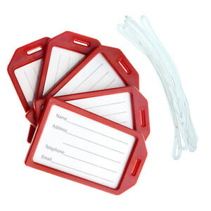 """5 Pack - Premium Hard Plastic Airline Luggage Tags with 6"""" Loops -Specialist ID"""